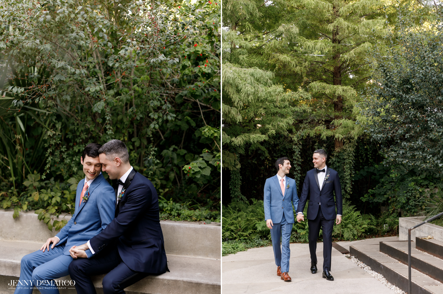 Left: Grooms sitting on bench; Right: Grooms holding hands and walking