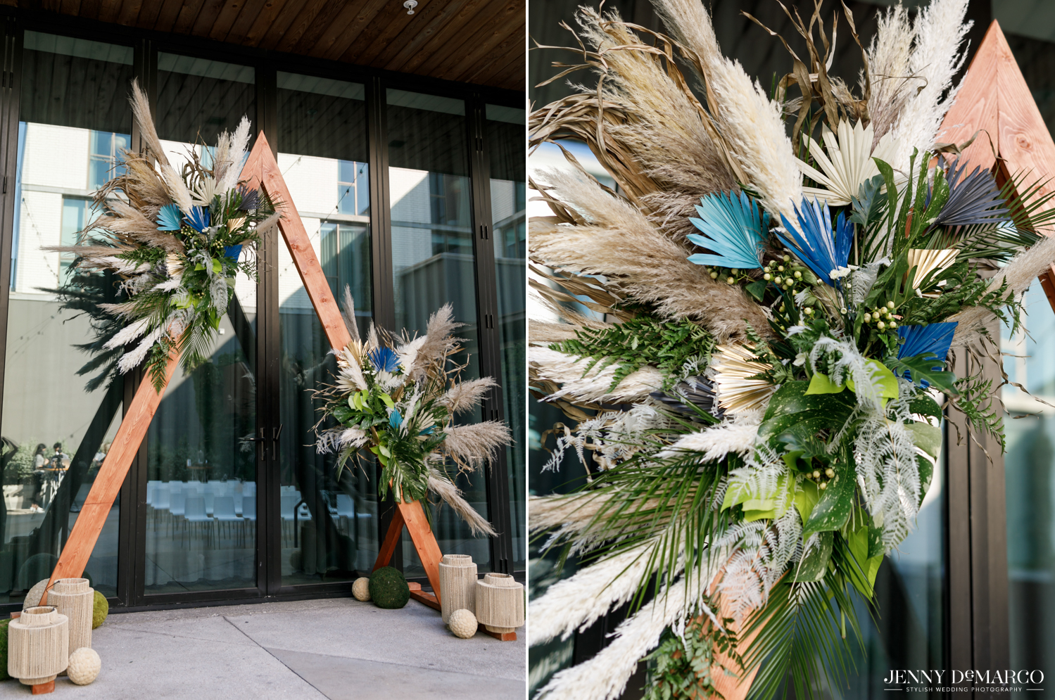Left: wooden triangular ceremony décor with feathered detailing; Right: close up of feathered detailing on  ceremony décor