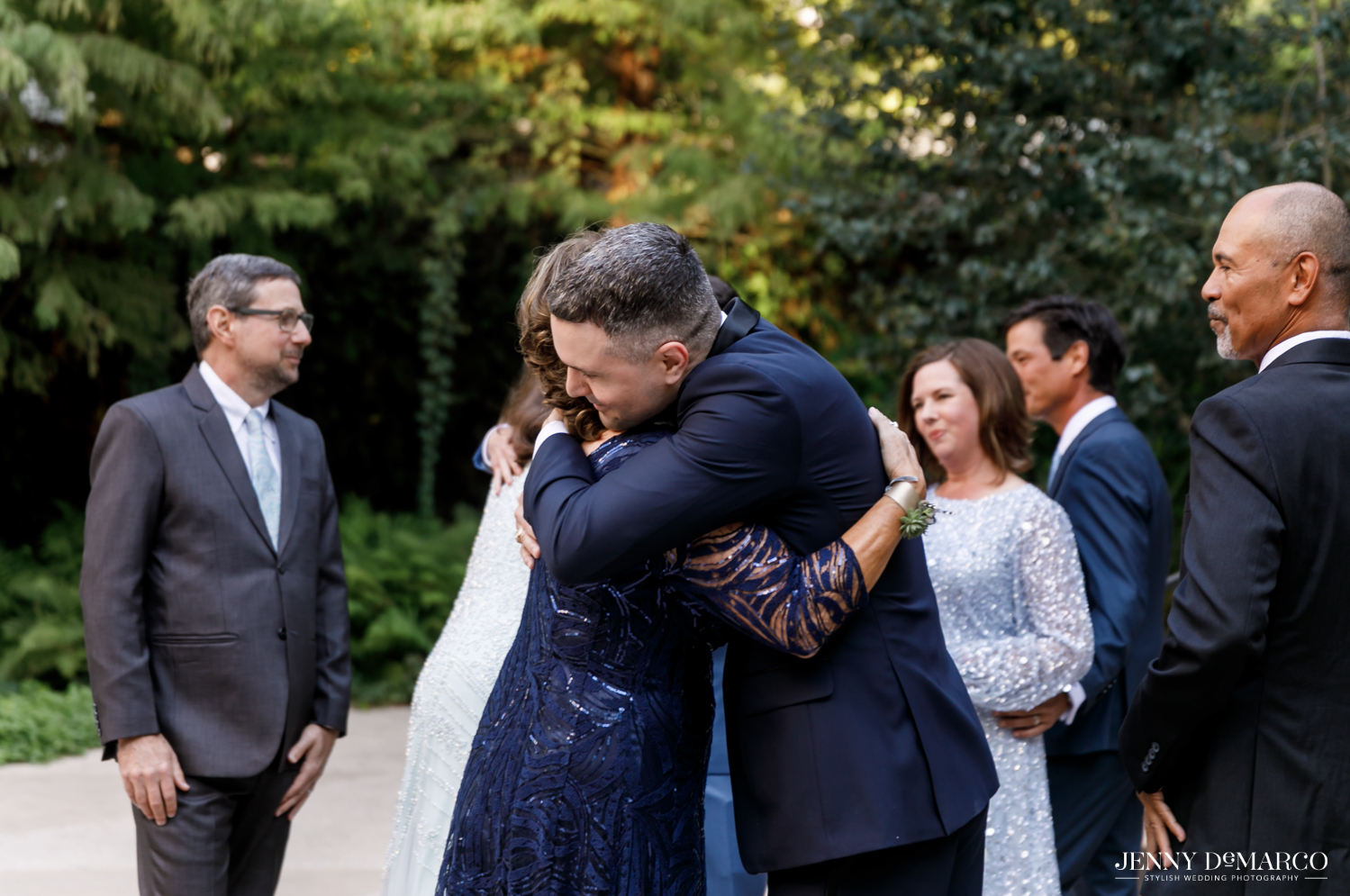 Groom embracing his mother