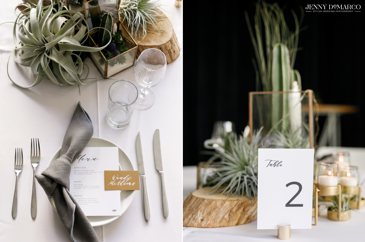 Left: Reception tableware and decorations; Right: Reception table decorations