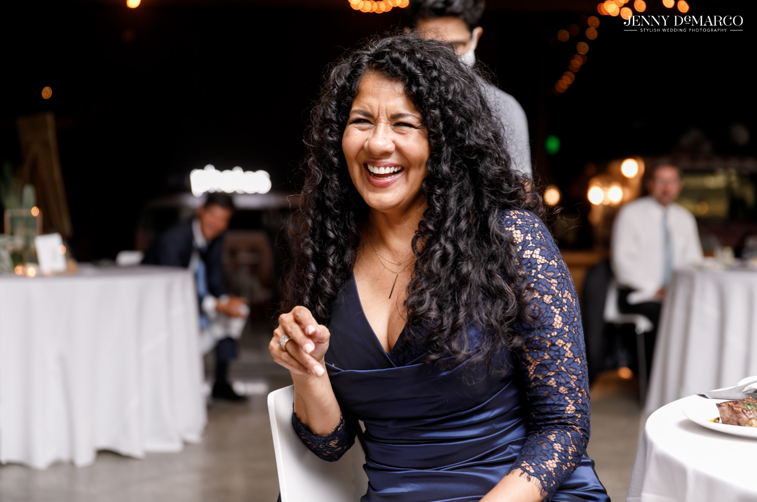 Guest laughing during reception