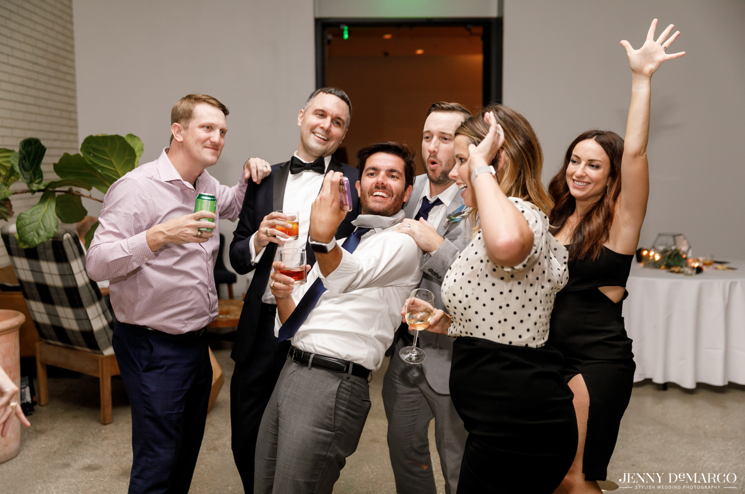 Guests taking selfie during reception