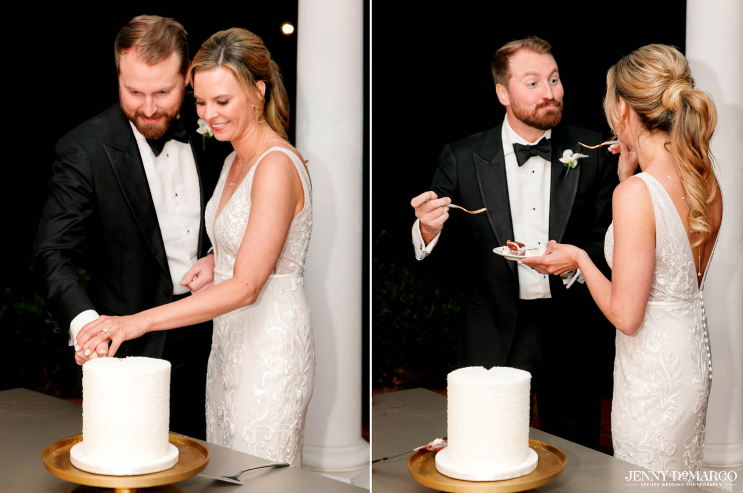 bride and groom cutting cake and feeding it to each other