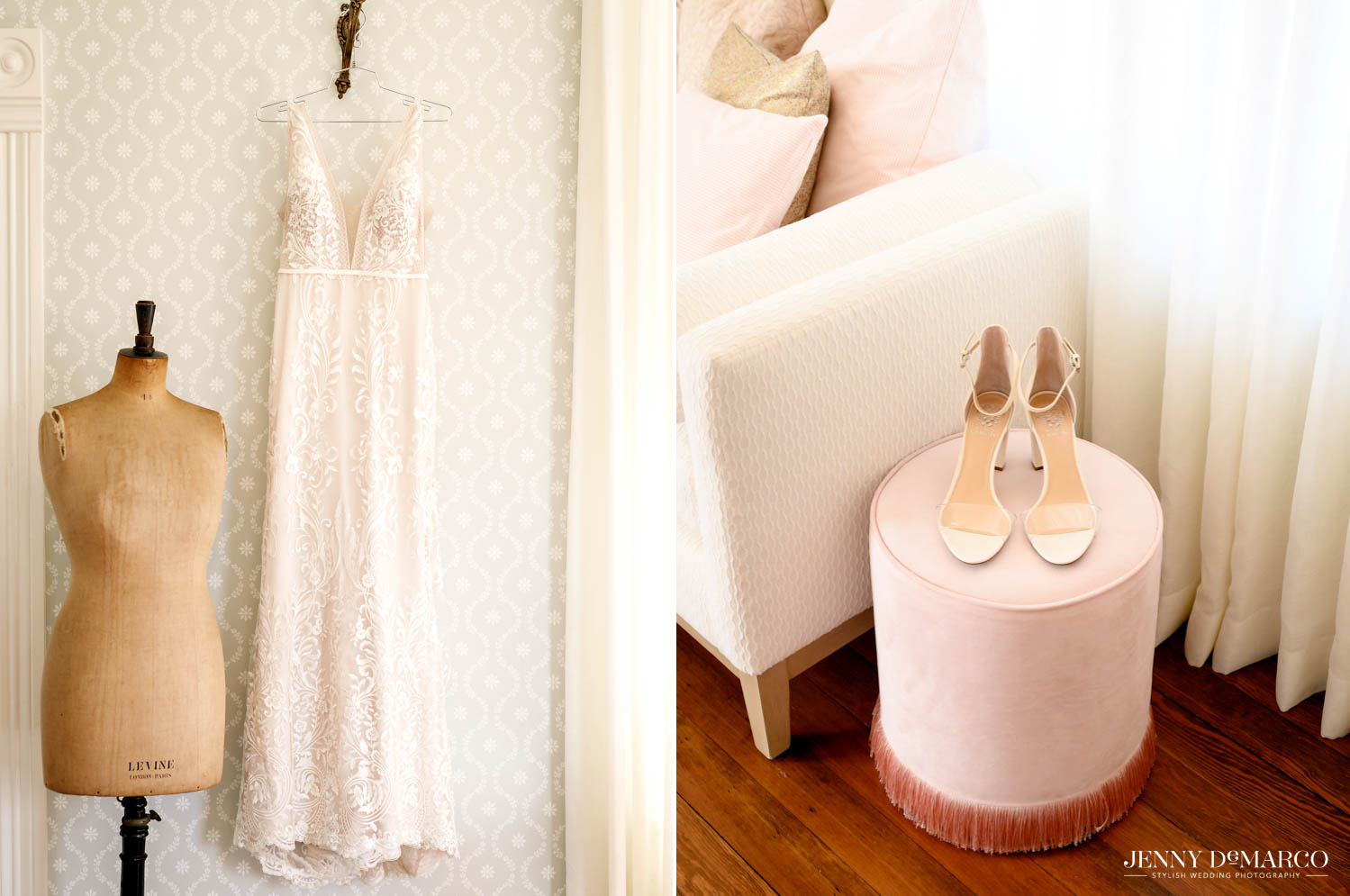 brides dress hanging on the wall and brides heels sitting on a pink stool