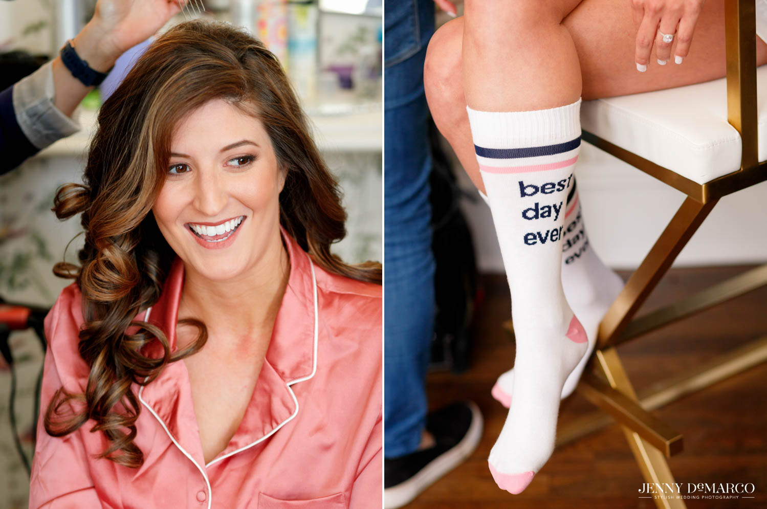 """bridesmaids getting hair curled and bride's socks that say """"best day ever"""""""