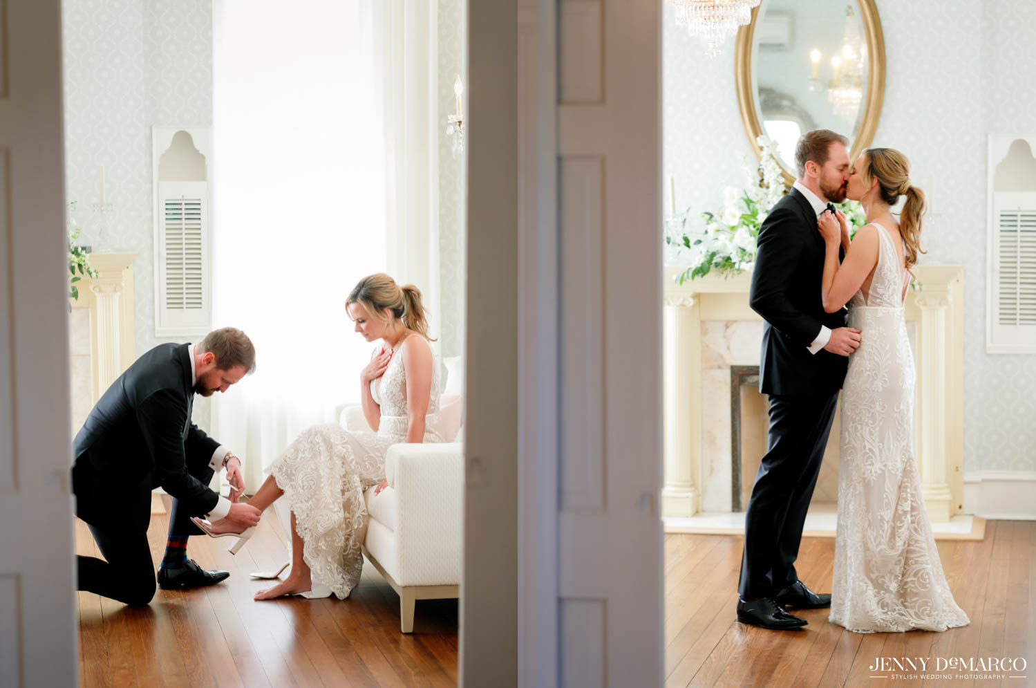 groom putting on the bride's shoes and bride and groom kissing before the ceremony