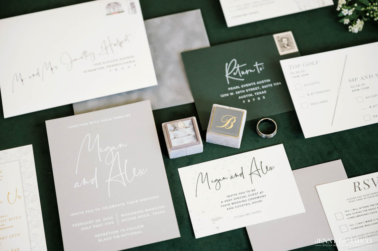 wedding stationary and rings